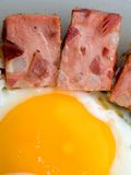 ägg stekte korven royaltyfri foto