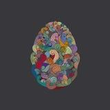 Ägget eller ovalen formade den organiska rökiga motivillustrationen Arkivbilder