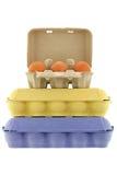 Äggmagasin för pappers- trämassa i olika format och färger mycket av nytt Royaltyfria Bilder