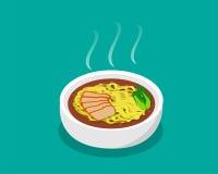 Äggnudelsoppa med stekgriskött och soppa i 3d Arkivbilder