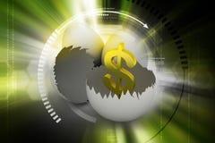 Äggskal med dollartecknet royaltyfri illustrationer