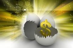 Äggskal med dollartecknet vektor illustrationer