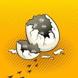 Äggskal med vektorn för tidsstämpelpopkonst royaltyfri illustrationer