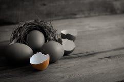 Äggskal och ägg på det trä - stilleben Royaltyfri Foto