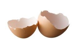Äggskal som isoleras på vitbakgrund Royaltyfri Fotografi