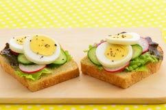 Äggskivor på bröd för helt vete Royaltyfri Foto