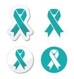 Äggstocks-, cervikalt och livmoder- cancersymbol för krickaband - stock illustrationer