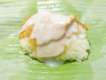 Äggvaniljsås med söta klibbiga ris royaltyfri foto