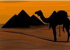 Ägypten, die großen Pyramiden von Giseh, Vektorillustration lizenzfreie abbildung