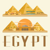 Ägypten-Reise und -markstein Konzeptvektorillustration Lizenzfreie Stockfotografie