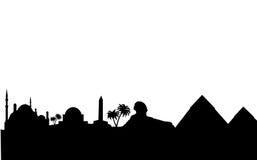 Ägypten-Skyline und Grenzsteinschattenbild Stockbilder
