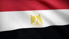 Ägypten-Staatsflaggeanimation Flagge von Ägypten wellenartig bewegend auf Wind stock abbildung