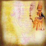 Ägyptische alte Kunstbeschaffenheit mit Königin Nefertari Stockbilder