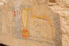 Ägyptische hieroglyphische Carvings Hatsheput-Tempel in Luxor, Ägypten lizenzfreie stockbilder