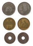 Ägyptische Münzen getrennt auf Weiß Lizenzfreie Stockfotos