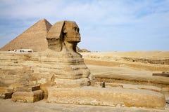 Ägyptische Sphinx mit Pyramide in Giza Stockbild