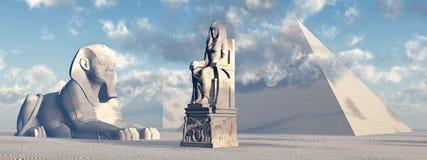 Ägyptische Sphinx, Statue und Pyramiden Stockbild
