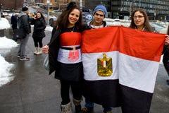 Ägyptischer Protest bei Nationen in NYC Lizenzfreies Stockfoto