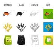 Ährchen des Weizens, ein Paket von Samen, ein Traktor, Handschuhe Gesetzte Sammlungsikonen des Bauernhofes in der Karikatur, Schw Lizenzfreie Stockfotografie