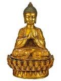 Äkta forntida buddha staty som isoleras på vit Fotografering för Bildbyråer