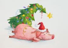Äkta stående av det lilla svinet efter parti för nytt år royaltyfri illustrationer