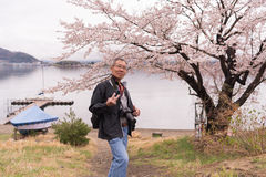 Äldre asiatisk man med kameran på hans hals med sakura i Japan Royaltyfri Fotografi