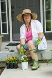 Äldre dam som får klar att transplantera plantor Arkivbilder