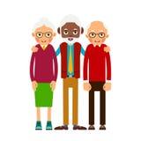 Äldre folk för grupp Tre svartvita åldriga personer Åldring M stock illustrationer