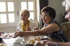 Äldre folk som har tebjudningen tillsammans royaltyfri bild