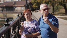 Äldre gift par som promenerar promenaden med glass och samtal lager videofilmer