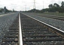 äldre järnvägspår Arkivbild