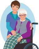 Äldre kvinna och sjuksköterska royaltyfri illustrationer