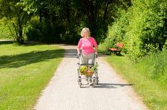 Äldre kvinna som använder en fotgängare för att göra hennes shopping royaltyfria bilder