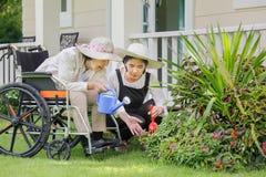 Äldre kvinna som arbeta i trädgården i trädgård med dottern Arkivfoto