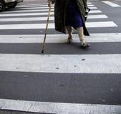 Äldre kvinna som går gatan royaltyfria foton