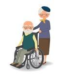 Äldre kvinna som strosar med den rörelsehindrade äldre mannen stock illustrationer