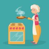 Äldre kvinnakockar Arkivbild