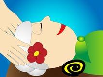 Äldre kvinnor för en trevlig avslappnande head massage Fotografering för Bildbyråer