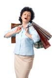 äldre lycklig shoppare fotografering för bildbyråer