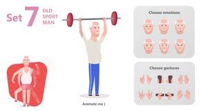 Äldre man att utföra övningar till att lyfta för skivstång stock illustrationer