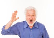 Äldre man med att ropa för skägg Royaltyfri Bild
