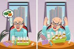 Äldre man som är ilsken på kostnaden av hans receptdroger Arkivbilder