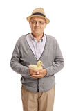 Äldre man som rymmer en ankunge Arkivbild