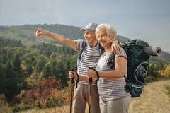 Äldre manlig fotvandrarevisning något i avståndet till en fläder Arkivbilder