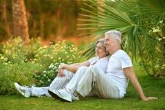 Äldre par på gräs Fotografering för Bildbyråer