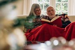 Äldre par som läser en bok som hemma sitter på soffan arkivfoton