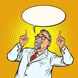 Äldre pekfinger för doktorsforskareleende upp gest royaltyfri illustrationer