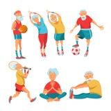 Äldre pensionärer som är förlovade i sportar också vektor för coreldrawillustration vektor illustrationer