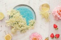 Äldre rosa och jordgubbesorbetingredienser för blomma, royaltyfri fotografi