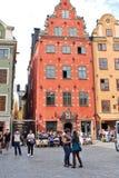 Äldst medeltida Stortorget fyrkant i Stockholm Arkivfoto